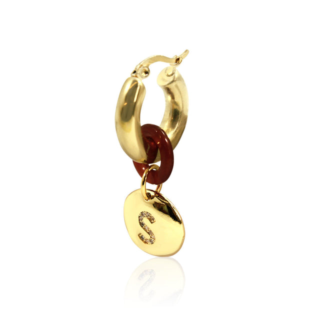 SIDEKICK Hoop Earring - Gold with Initial