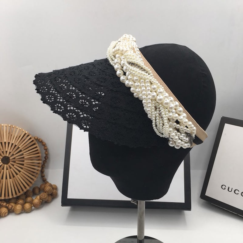 Black Lace Visor With Pearls - BEYAZURA.COM