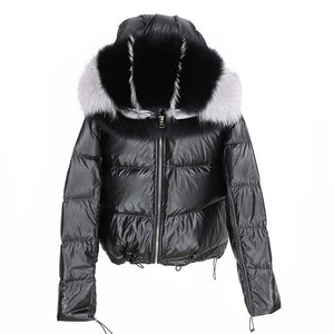 Reversible Bomber Jacket With Natural Fox Fur Trims - BEYAZURA.COM