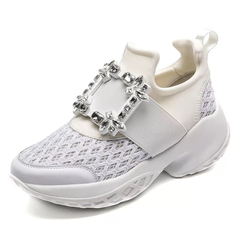 Crystal Buckle High Platform Slip On Fashion Sneakers - BEYAZURA.COM