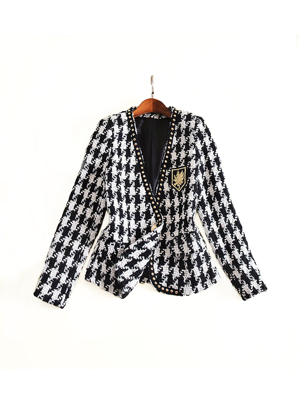 BLACK AND WHITE HOUNDSTOOTH TWEED EMBROIDERED BLAZER