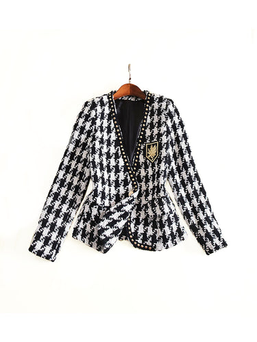 Black And White Houndstooth Tweed Embroidered Blazer - Beyazura.com