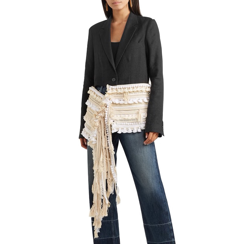 BLAZER WITH ASYMMETRICAL ETHNIC TASSEL BOTTOM