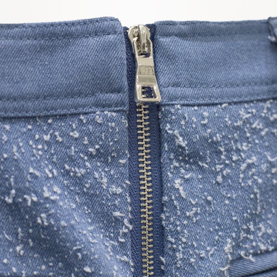 Blue Denim Skirt With Gold Buttons - BEYAZURA.COM