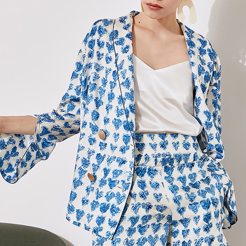BLUE HEART PRINT SHORTS AND JACKET TWO PIECE SET - BEYAZURA.COM