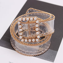 Load image into Gallery viewer, Clear Belt With Pearl Buckle - BEYAZURA.COM