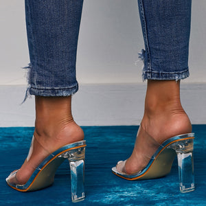 Clear Double Strap Sandals With Heel - BEYAZURA.COM