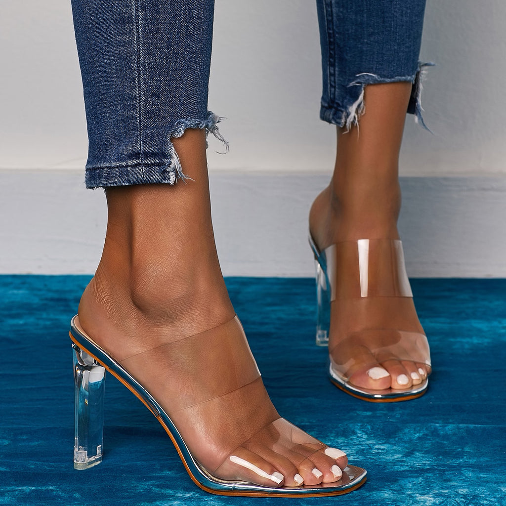 CLEAR DOUBLE STRAP SANDALS WITH HEELS