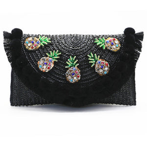 Crystal Decoration Pom Pom Tassel Edge Straw Envelope Clutch - Beyazura.com