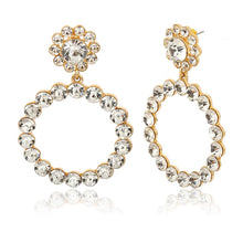 Load image into Gallery viewer, Pearl and Crystal Hoop Earrings - Beyazura.com