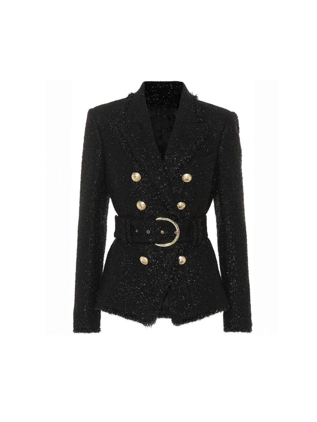 DOUBLE BREASTED GLITTERY BELTED BLAZER WITH GOLD BUTTONS