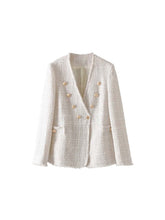 Load image into Gallery viewer, Double Breasted V Neck Tweed Blazer - Beyazura.com