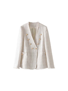 Double Breasted V Neck Tweed Blazer - BEYAZURA.COM