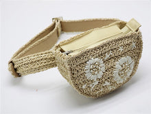 Load image into Gallery viewer, Flower Decoration Straw Fanny Pack - BEYAZURA.COM