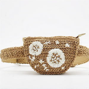 Flower Decoration Straw Fanny Pack - BEYAZURA.COM