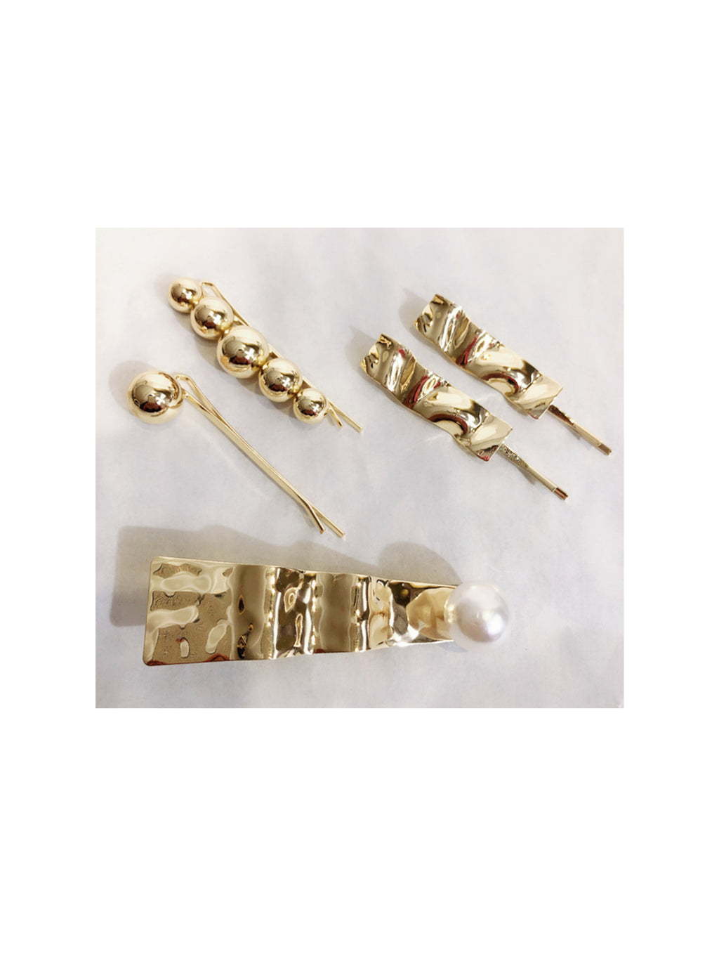 GOLD GEOMETRIC SHAPED HAIR SLIDES (SET OF 5)