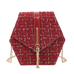 Geometrical Tweed Flap Bag With Gold Tassel - BEYAZURA.COM