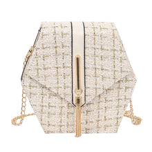 Load image into Gallery viewer, Geometrical Tweed Flap Bag With Gold Tassel - Beyazura.com