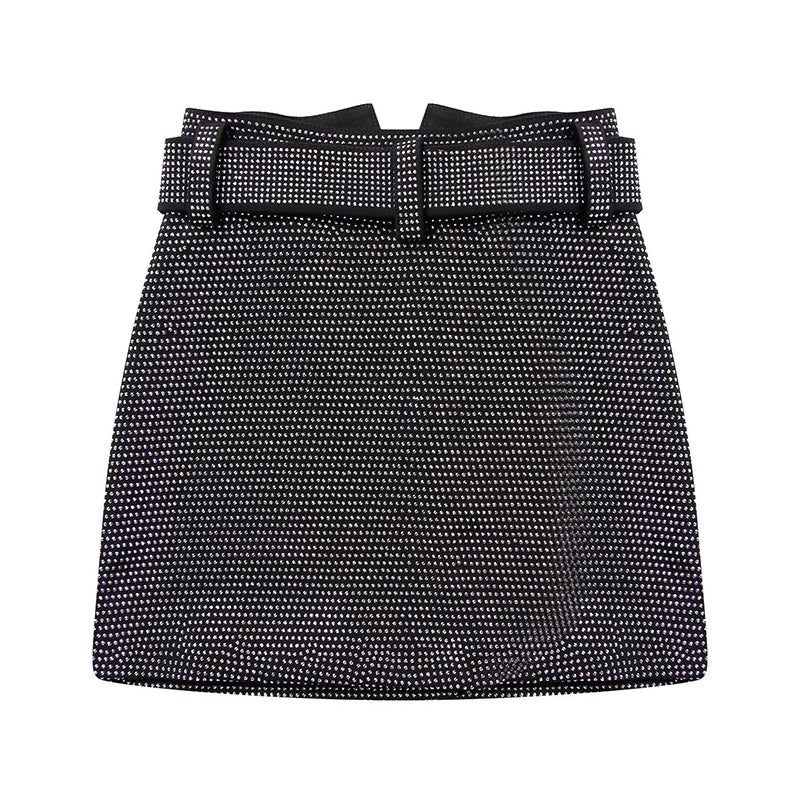 High Waisted Crystalized Belted Short Skirt - BEYAZURA.COM