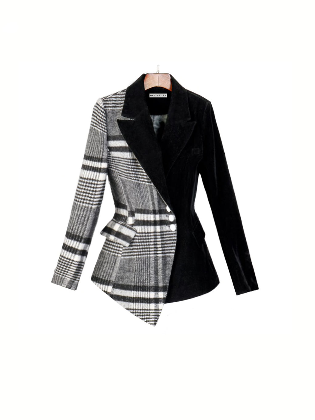 HALF PLAID HALF BLACK ASYMMETRICAL BLAZER