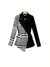 Load image into Gallery viewer, Half Plaid Half Black Asymmetrical Blazer - Beyazura.com