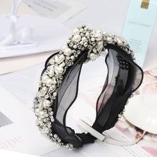 Load image into Gallery viewer, Knotted Crystal Pearl Headband - BEYAZURA.COM
