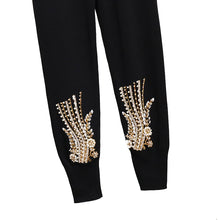 Load image into Gallery viewer, Two Piece Loungewear With Flower Gold Beadings - BEYAZURA.COM