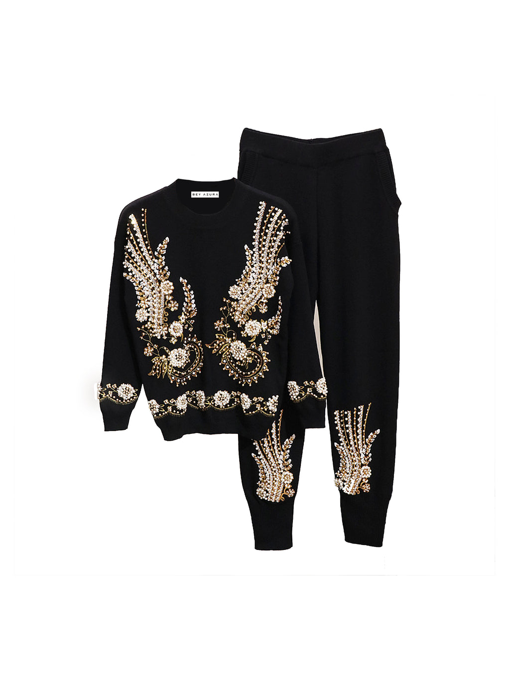 TWO PIECE LOUNGEWEAR WITH PEACOCK GOLD BEADINGS - BEYAZURA.COM