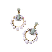 Load image into Gallery viewer, Luxury Pearl And Green Stone Drop Earrings - BEYAZURA.COM