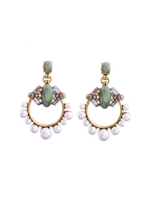 Luxury Pearl And Green Stone Drop Earrings - BEYAZURA.COM