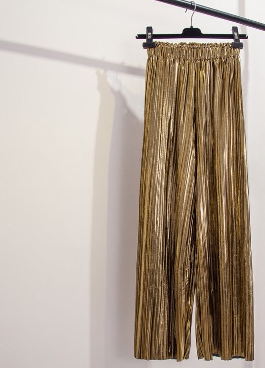 Metallic Pleated Tailored Straight Wide Leg Pants - Beyazura.com