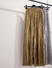 Load image into Gallery viewer, Metallic Pleated Tailored Straight Wide Leg Pants - Beyazura.com