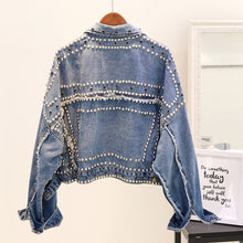 Load image into Gallery viewer, Oversized Denim Jacket With Studs - BEYAZURA.COM