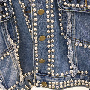 Oversized Denim Jacket With Studs - BEYAZURA.COM