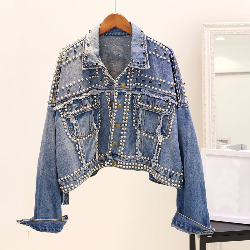 OVERSIZED DENIM JACKET WITH STUDS