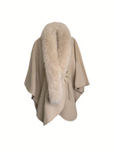 Load image into Gallery viewer, Poncho With Removable Fox Trim - BEYAZURA.COM