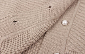 Ribbed Knit Cardigan With Pearl Buttons - BEYAZURA.COM