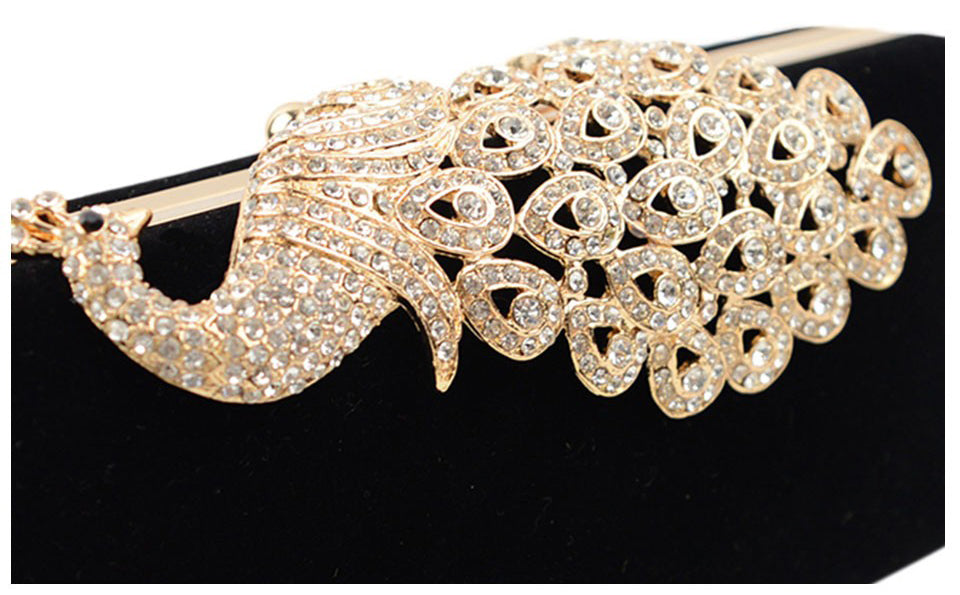 Peacock Crystal Decorated Velour Clutch - BEYAZURA.COM