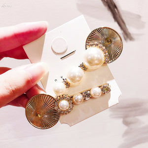 Pearls And Crystals On Metal Hair Slides - BEYAZURA.COM