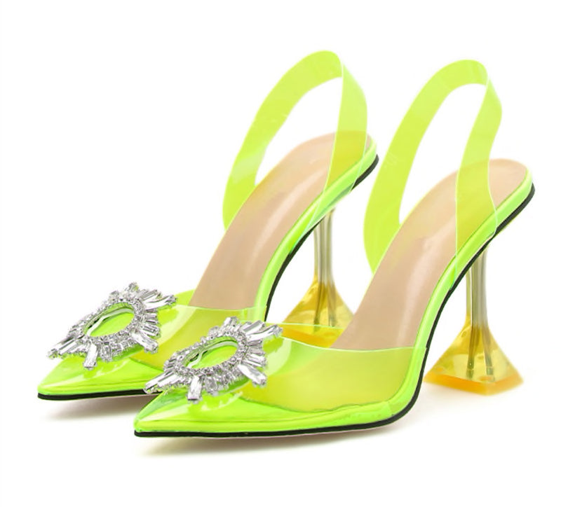 POINTED TOE CRYSTAL CLEAR HEELS IN NEON GREEN