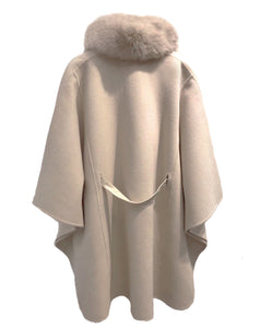 Poncho With Removable Fox Trim - BEYAZURA.COM