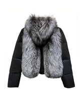 Load image into Gallery viewer, Puffer Coat With Fox Fur Collar - Beyazura.com