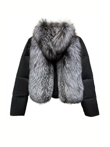 Puffer Coat With Fox Fur Collar - BEYAZURA.COM