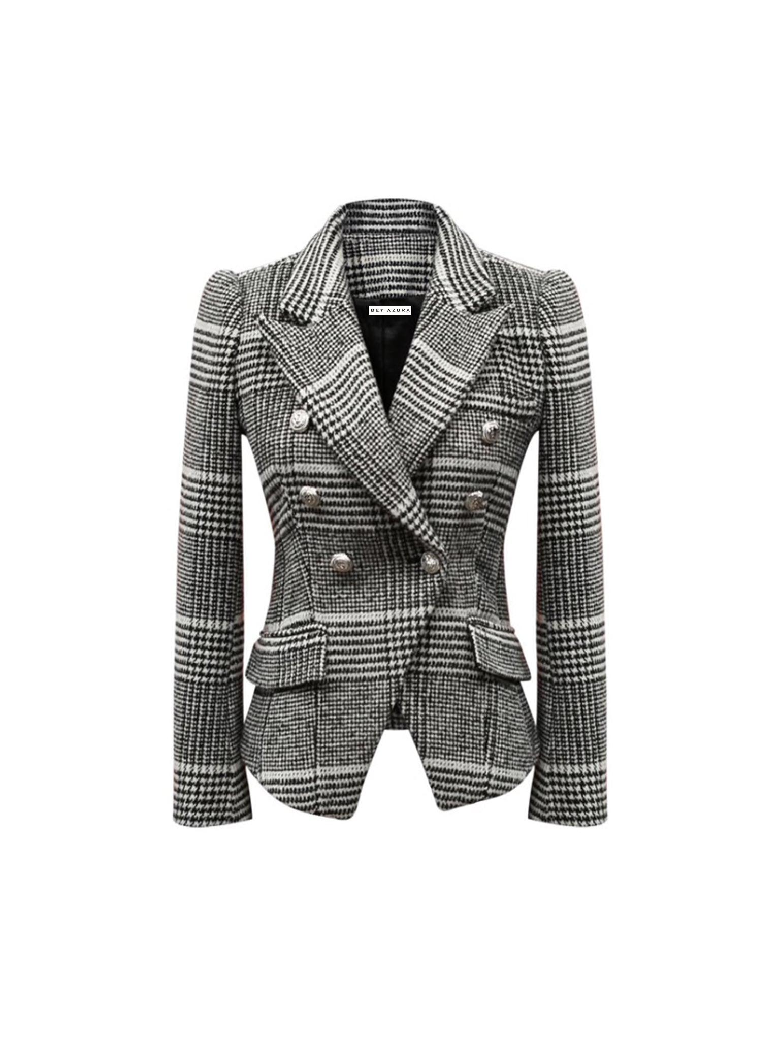 Gray Plaid Wool Notched Collar Blazer - BEYAZURA.COM