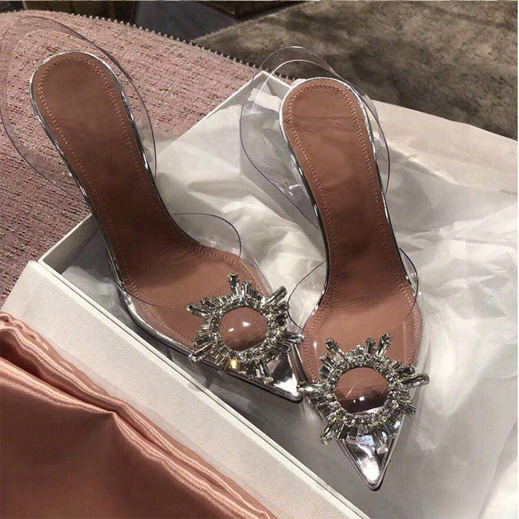 Pointed Toe Crystal Clear Heels - BEYAZURA.COM