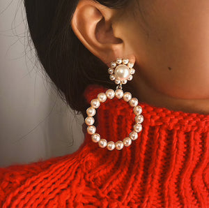 Pearl and Crystal Hoop Earrings - BEYAZURA.COM