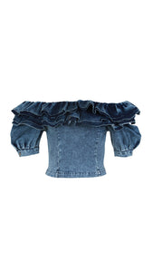 Ruffle Off The Shoulder Denim Top - BEYAZURA.COM