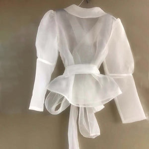 Sheer Blouse Shirt - BEYAZURA.COM