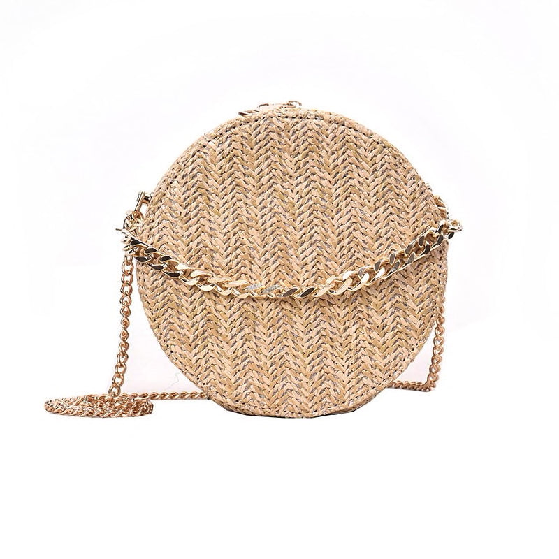 Straw Round Handbag With Gold Chain Strap - Beyazura.com