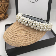 Load image into Gallery viewer, Straw Visor With Pearls - BEYAZURA.COM